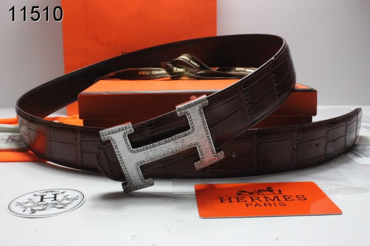 Trendy Hermes Mens Chocolate Belt with Silver H Buckle UK